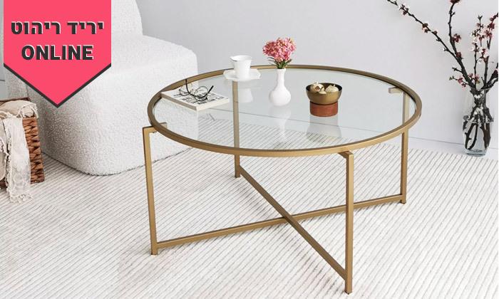 5 שולחן קפה דגם בייסיק עם משטח זכוכית