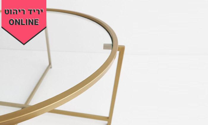 6 שולחן קפה דגם בייסיק עם משטח זכוכית