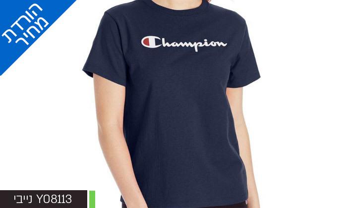 3 חולצת טי שירט מודפסת לנשים CHAMPION - צבעים ומידות לבחירה