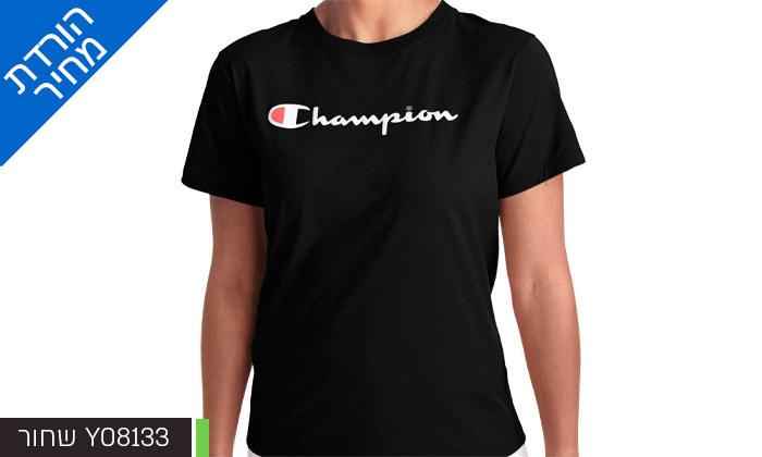 4 חולצת טי שירט מודפסת לנשים CHAMPION - צבעים ומידות לבחירה