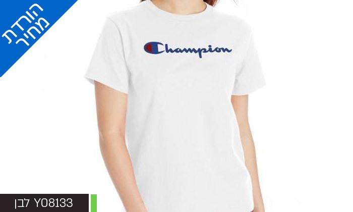 5 חולצת טי שירט מודפסת לנשים CHAMPION - צבעים ומידות לבחירה