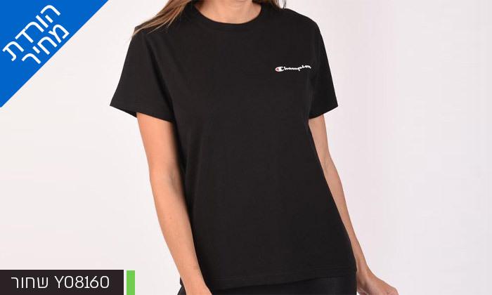 6 חולצת טי שירט מודפסת לנשים CHAMPION - צבעים ומידות לבחירה