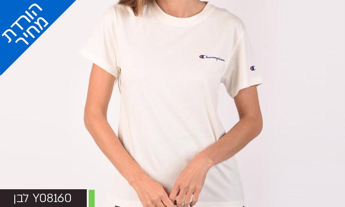 7 חולצת טי שירט מודפסת לנשים CHAMPION - צבעים ומידות לבחירה