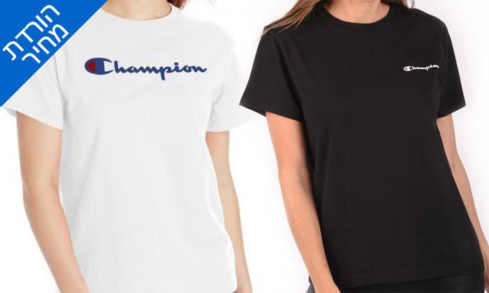 2 חולצת טי שירט מודפסת לנשים CHAMPION - צבעים ומידות לבחירה