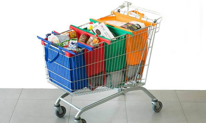 2 סט 4 תיקי קניות כולל תיק צידנית