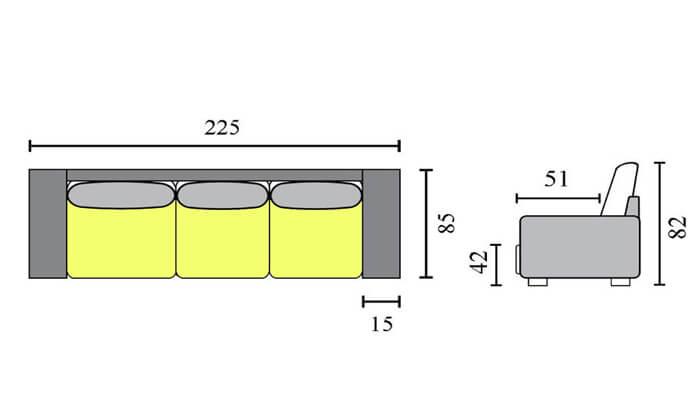 3 שמרת הזורע ספה תלת מושבית - כולל 12 תשלומים