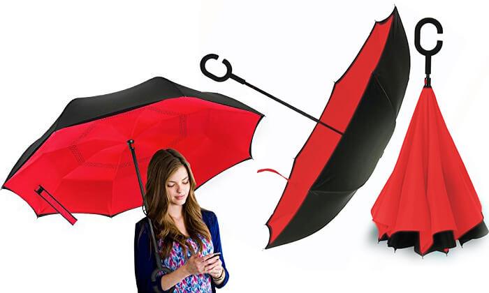 2 זוג מטריות מתהפכות שלא מטפטפות - משלוח חינם